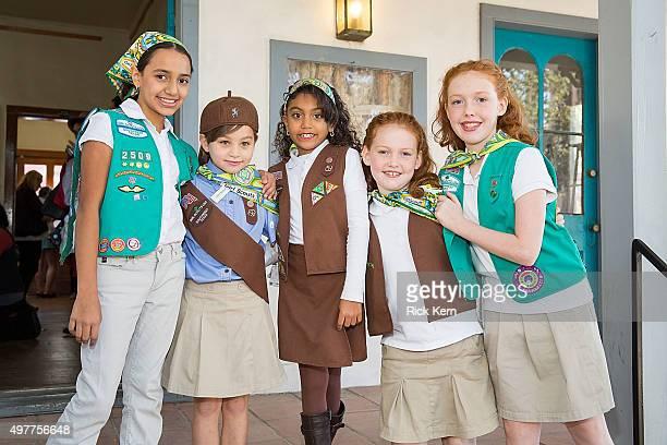 Girl Scouts attend the grand opening of Marisol Deluna New York Design Studio and Educational Foundation at La Villita Historic Art Village on...