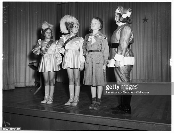Girl Scouts Troop Christmas Party 15 December 1951 Play is being presented for student body at White Point School in San Pedro as part of Harbor Area...