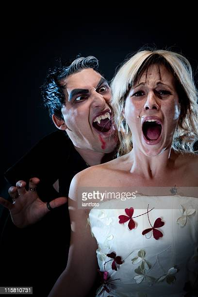 girl screaming. - zombie girl stock photos and pictures