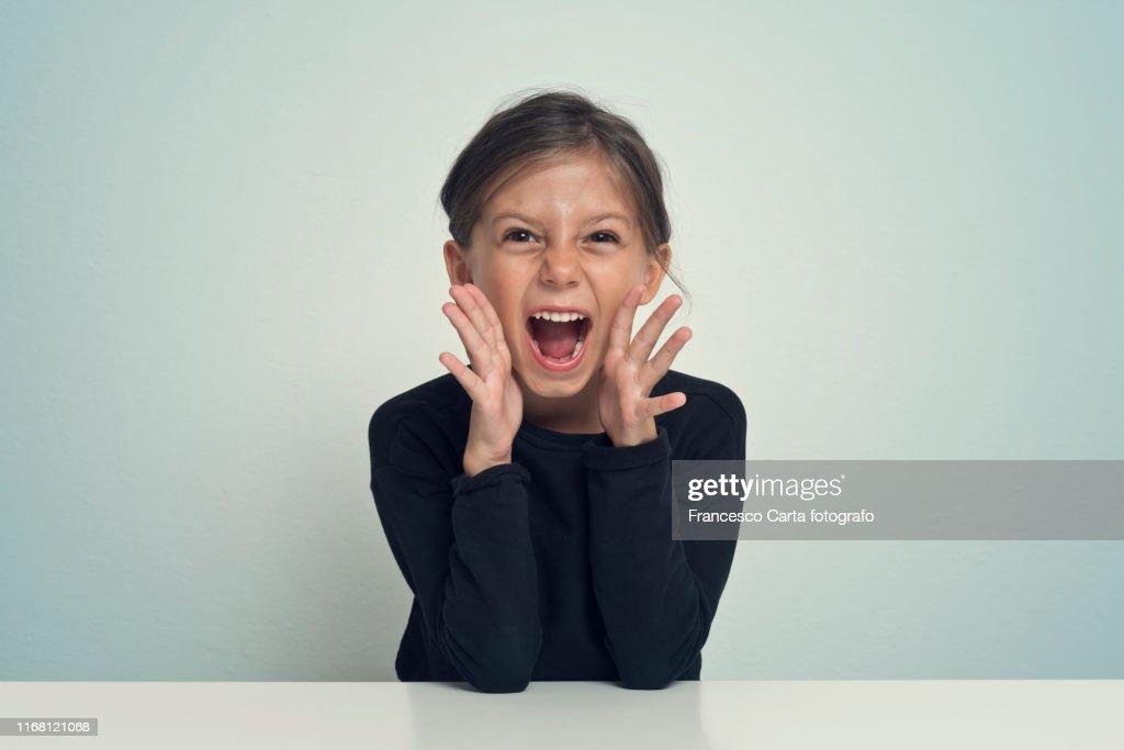 Girl screaming : Stock Photo