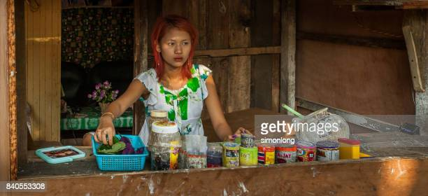 A girl selling betel nut in Myanmar