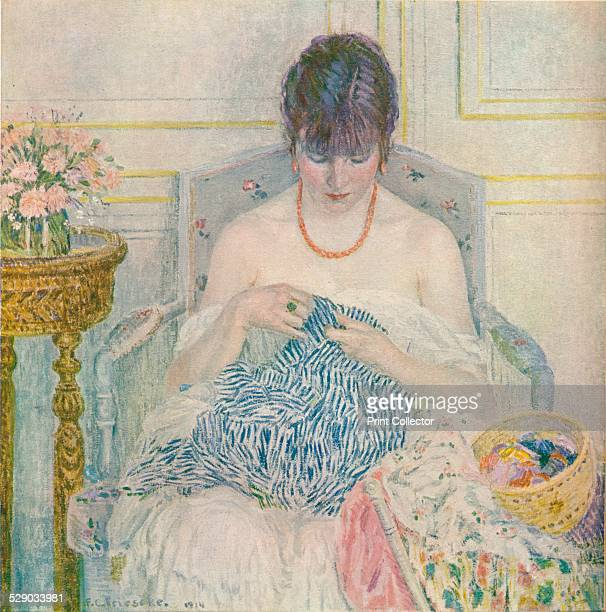 A Girl Sewing 1914 After an oil painting by Frederick Carl Frieseke From The Studio Vol 62 [London Offices of the Studio London 1914]