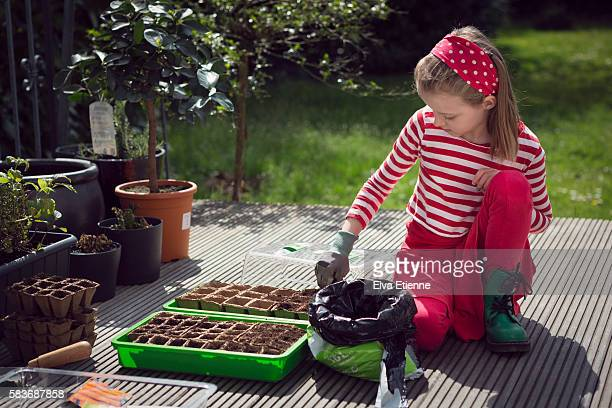 Girl (9-10) sewing seeds