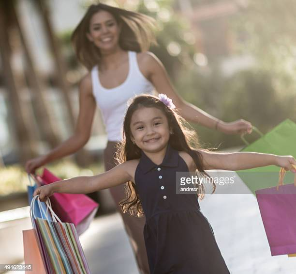 Girl shopping with her mom