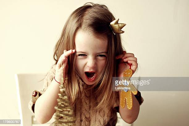 Girl shouting Christmas wishes