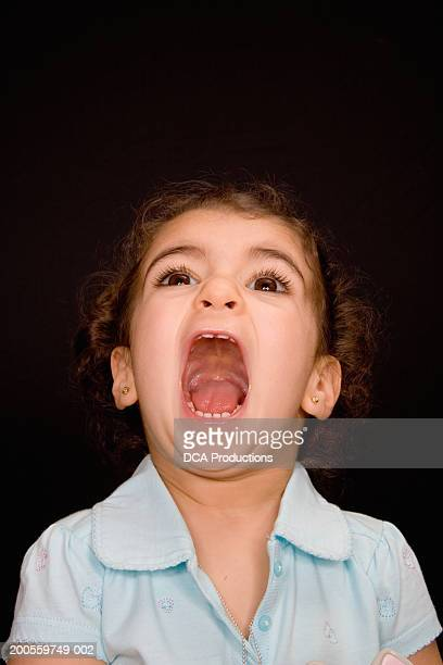 girl (2-3) shouting - girls open mouth stock photos and pictures