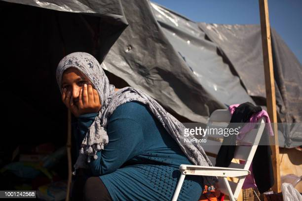 Refugees wash themselfs in Refugee camp in Velika Kladusa BiH on July 18 2018 Refugee camp in Velika Kladusa is located near Bosnia and Herzegovina...