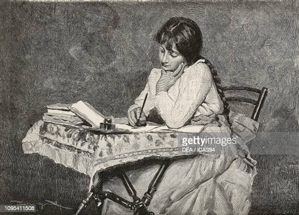 Girl sitting at a table doing homework engraving from an illustration by Arnaldo Ferraguti to the book Heart by Edmondo De Amicis from...