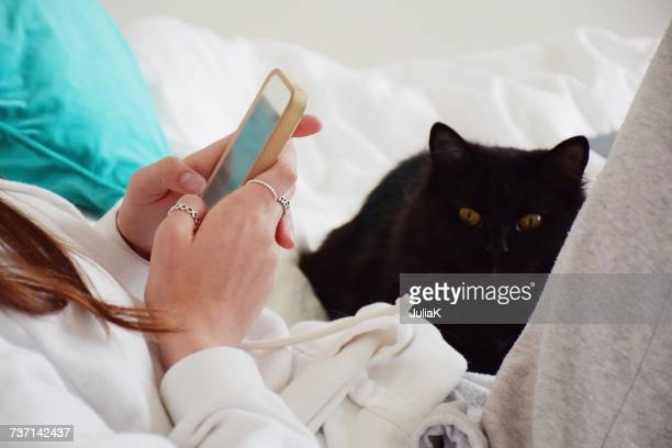 Girl Sitting in bed with her cat using her mobile phone