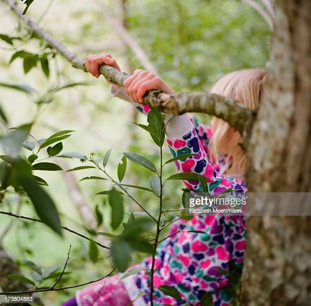 Girl sitting in Myrtlewood Tree