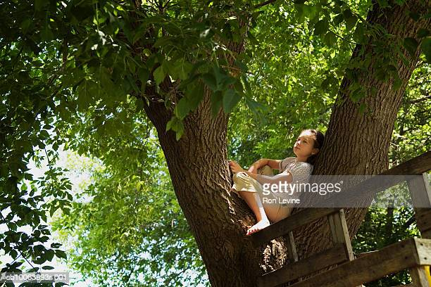 Girl (10-11) sitting on branch by tree house
