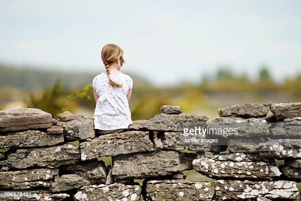 girl sitting on stone wall, rear view - エーランド ストックフォトと画像