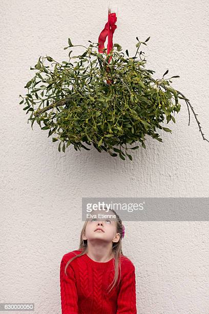 girl sitting under a large ball of mistletoe - what color are the berries of the mistletoe plant stock pictures, royalty-free photos & images