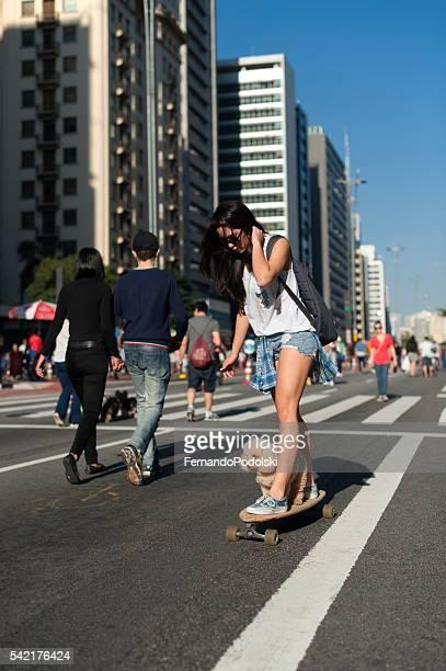 Girl, Skating and Dog