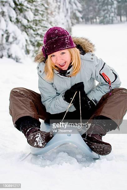 Girl sledging
