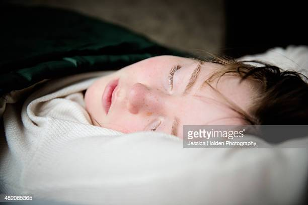 Girl Sleeping in Sleeping Bag