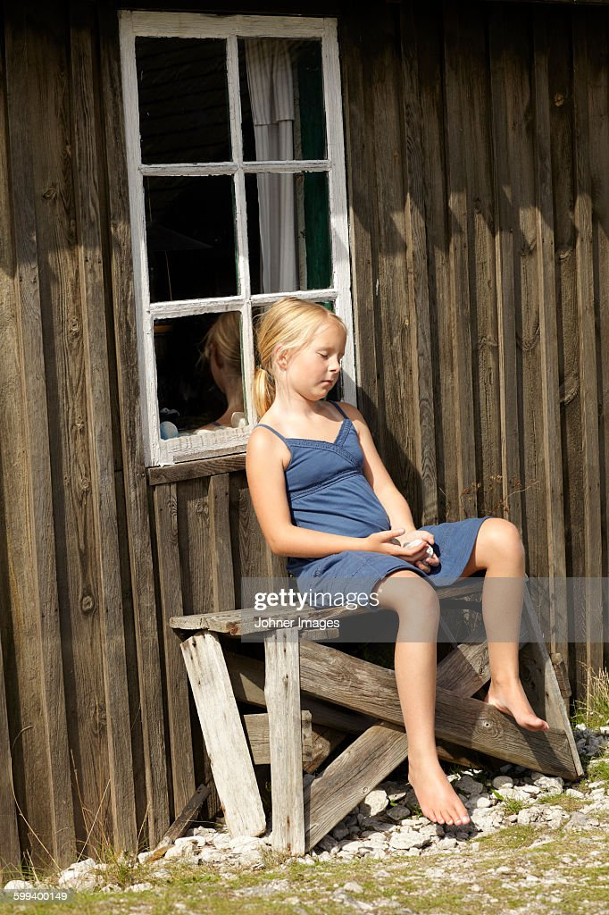 Girl sleeping on bench : Stock Photo