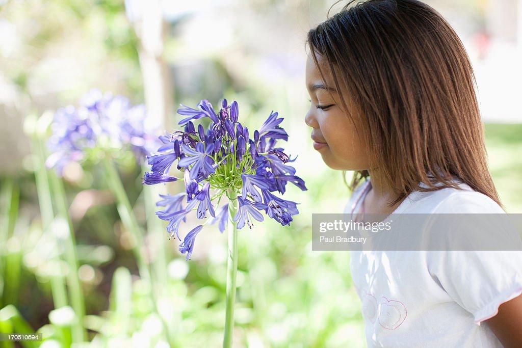Girl smelling flower outdoors, portrait : Stock Photo