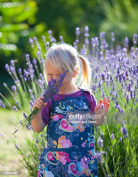 Girl smelling lavender flowers
