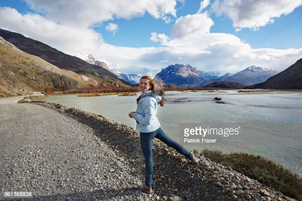Girl smiles at camera in Patagonia