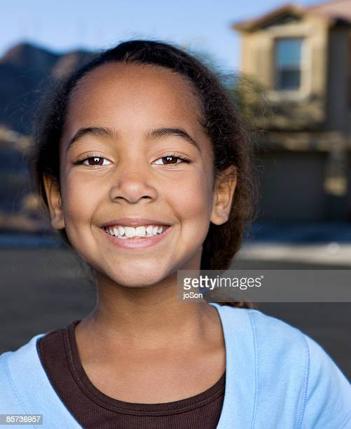 girl (9-12 years) smiling, close up, portrait - 6 7 years stock pictures, royalty-free photos & images