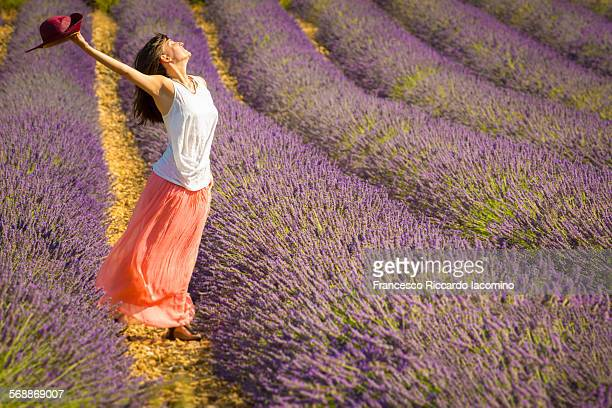 Girl smiling in a lavander field, provence