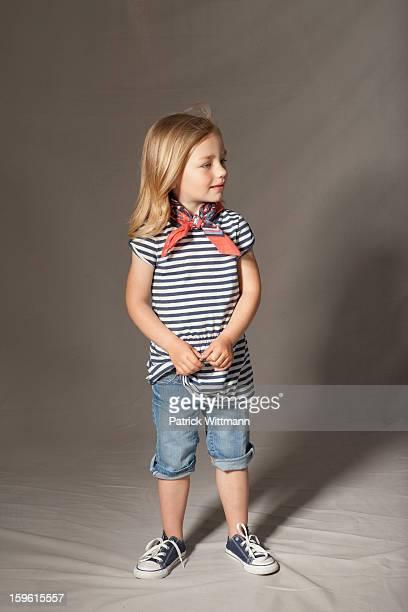 Girl smiling in studio
