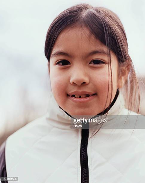 girl (8 years) smiling outdoors, portrait, close-up - 8 9 years stock pictures, royalty-free photos & images