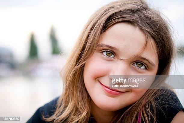 girl smiling - ピンクの頬 ストックフォトと画像