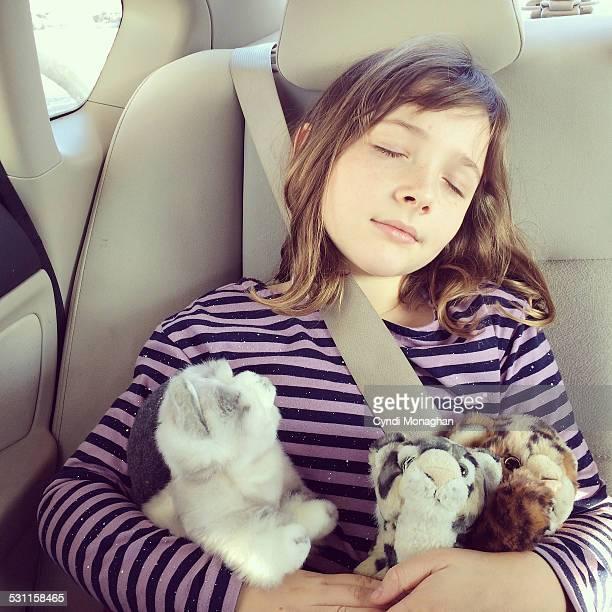 Girl Snuggling Stuffed Cats