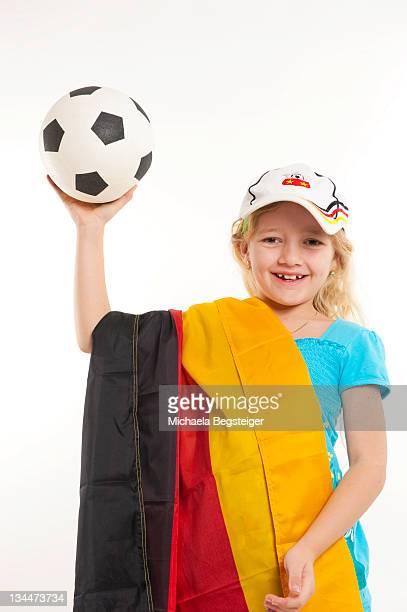 Girl, soccer fan, German flag