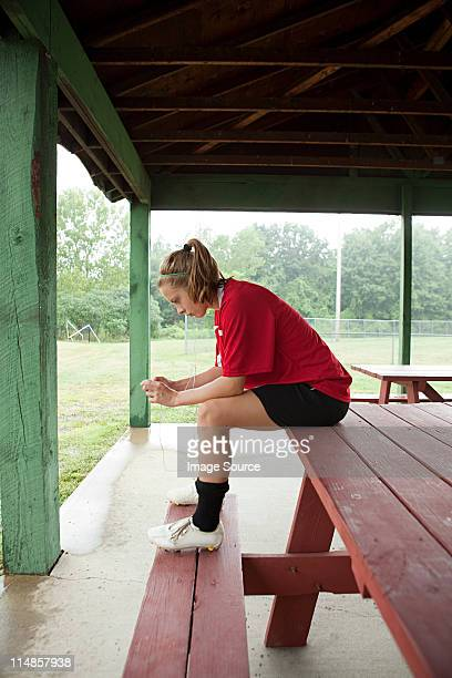 girl soccer player on bench - chatham new york state stock pictures, royalty-free photos & images