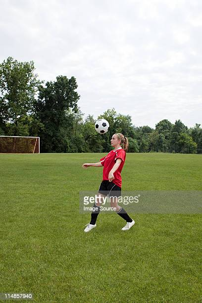girl soccer player with ball - chatham new york state stock pictures, royalty-free photos & images