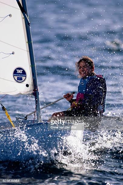 Girl Splashing While Sailing