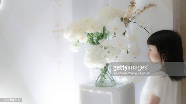 girl standing by flowers in vase at home - chang jui chieh imagens e fotografias de stock