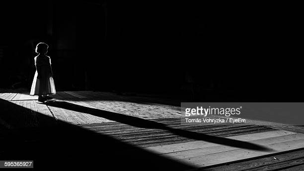 Girl Standing In Barn With Long Shadow