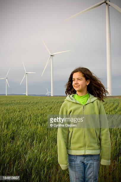 Girl (11) Standing in Field, Front View