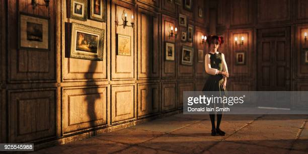 girl standing in ornate room - balzaal stockfoto's en -beelden