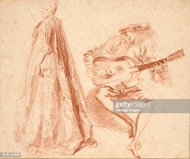 Girl standing in profile to left looking over her left Shoulder with a Man on the right playing a Guitar early 18th century Artist JeanAntoine Watteau