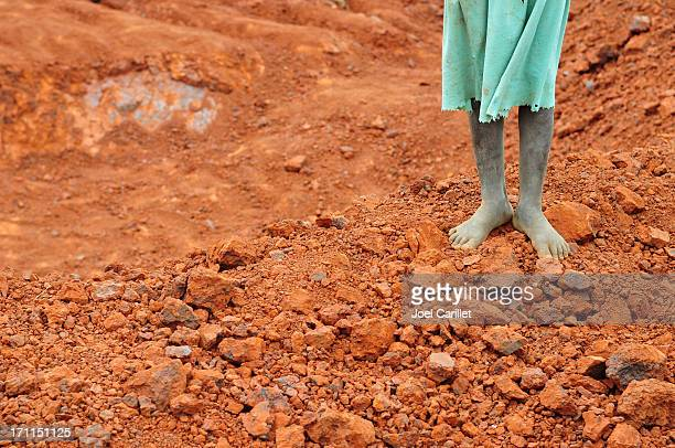 girl standing on african soil near konso, ethiopia - barefoot stock pictures, royalty-free photos & images