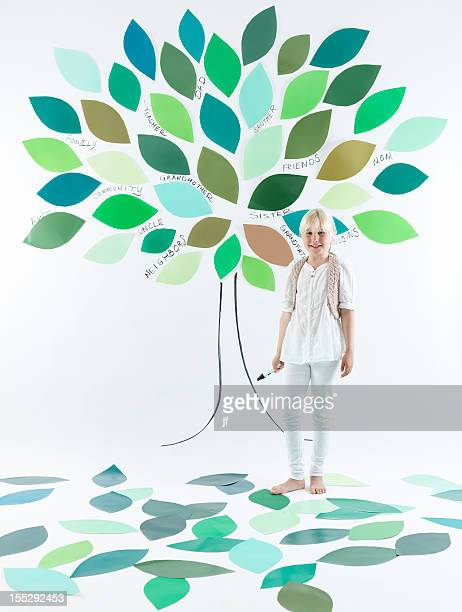 Girl standing under tree on wall