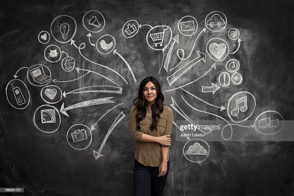 Girl standing with social media icon chalkboard : Stock Photo