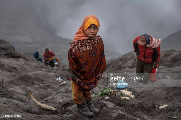 A girl stands as wait to catch offerings thrown by Tenggerese worshippers during the Yadnya Kasada Festival at crater of Mount Bromo on July 18 2019...