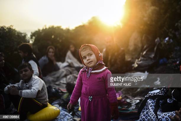 A girl stands next to other migrants and refugees hiding behind bushes as they wait for the night to fall to try to cross to the Greek island of Kos...
