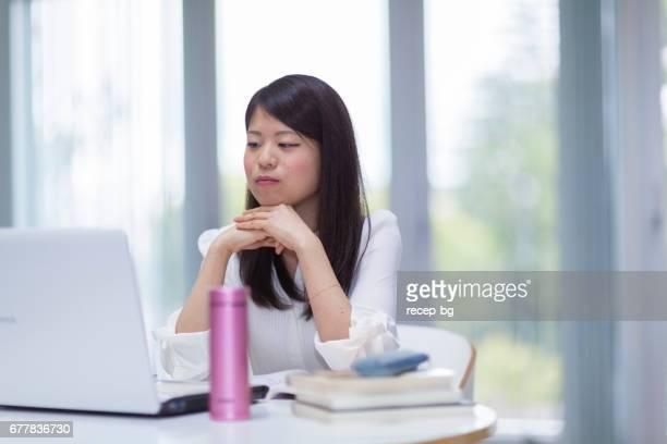 Girl Staring At Laptop Screen