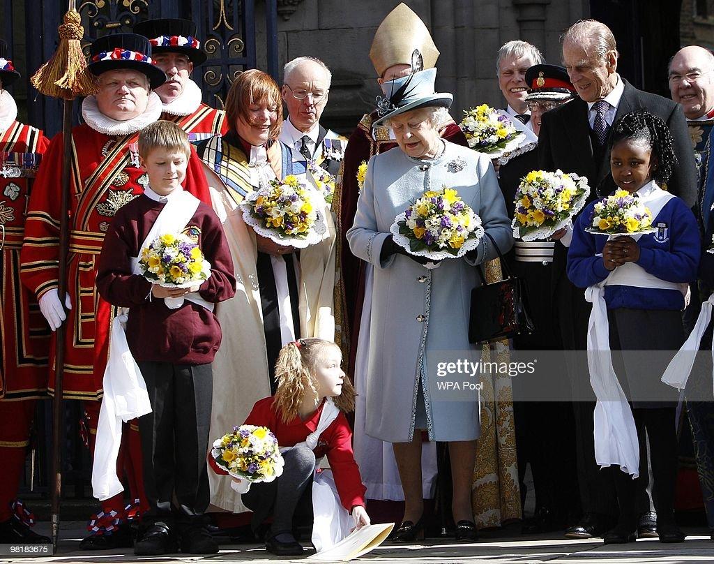 Queen Elizabeth II Attends Maundy Service In Derby : News Photo