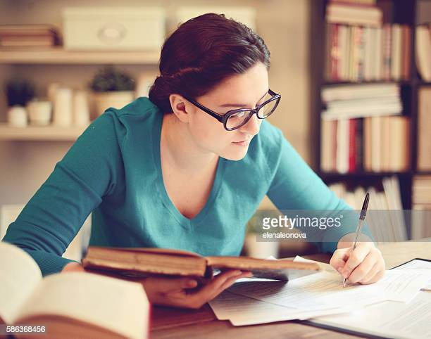 Girl student learning