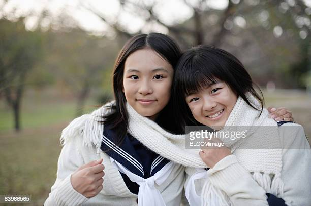 girl students wearing a scarf - hot high school girls stock photos and pictures