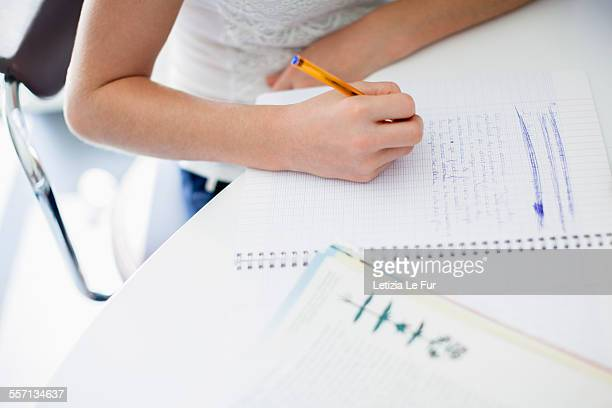 Girl studying at home