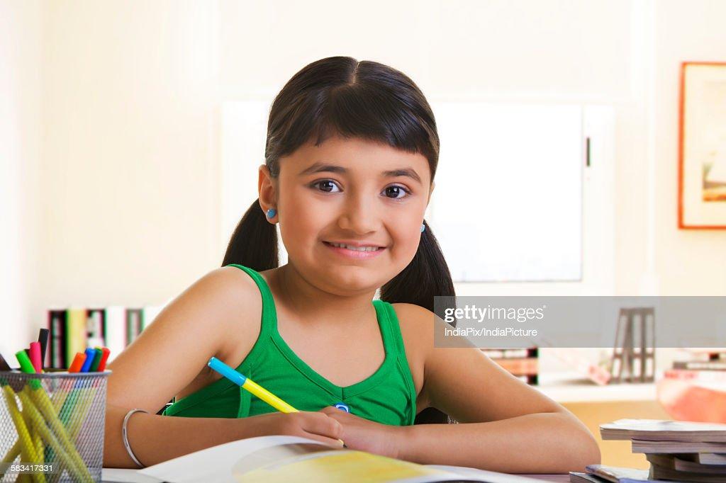Girl studying : Stock Photo